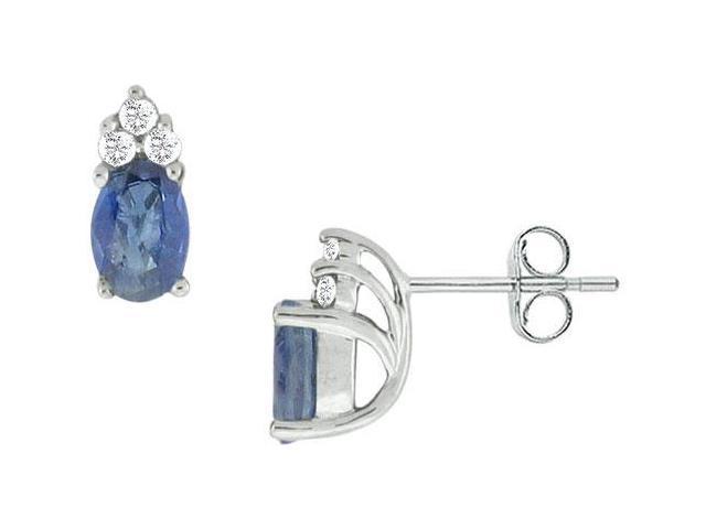 Blue Sapphire and Diamond Earrings  14K White Gold - 1.00 CT TGW