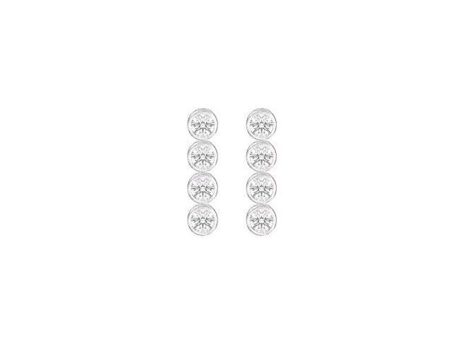 Drop Earrings Triple AAA Quality Cubic Zirconia Bezel Set in 14K White Gold Ten Carat TGW