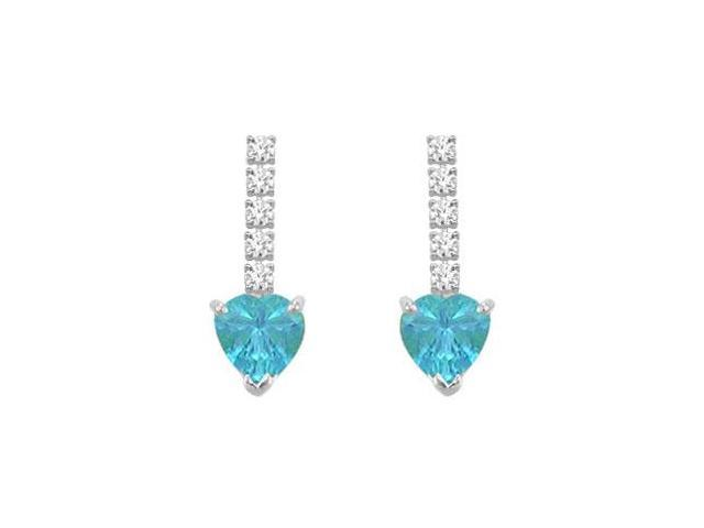Diamond and Blue Topaz Earrings  14K White Gold - 1.25 CT TGW