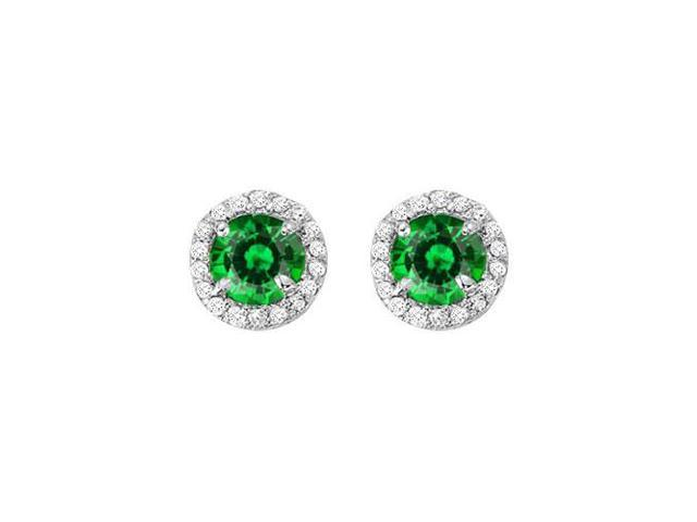 May Birthstone Created Emerald and CZ Halo Stud Earrings in Sterling Silver 2.25 CT TGW