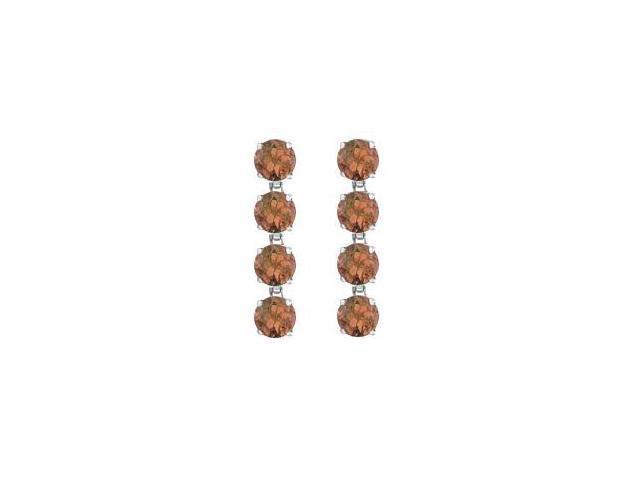 Smoky Quartz Drop Earrings Eight Carat Total Gem Weight in Rhodium Plating .925 Sterling Silver