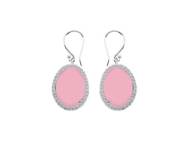 14K White Gold Pink Chalcedony and Diamond Earrings 31.00 CT TGW