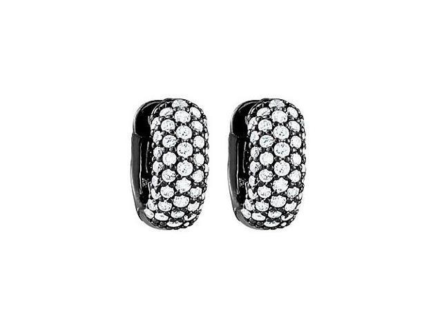 CZ 5 Row Petite Vault Lock Hoop Earrings in Black Rhodium over Sterling Silver