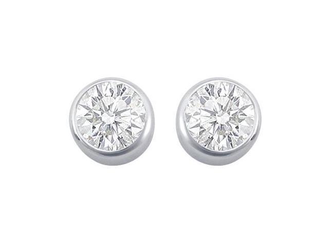 Bezel Set Cubic Zirconia Stud Earrings in Rhodium Treated .925 Sterling Silver 2.00 CT TGW
