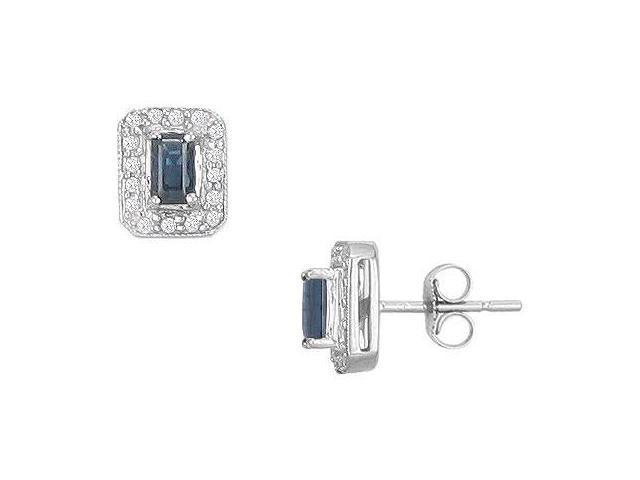 Sapphire and Diamond Earrings  14K White Gold - 1.00 CT TGW