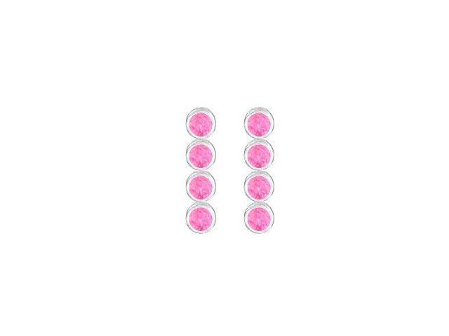 Ten Carat Totaling Created Pink Topaz Drop Earrings in 14K White Gold Bezel Setting