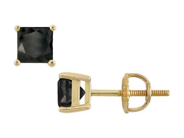 14K Yellow Gold  Princess Cut Black Diamond Stud Earrings  2.50 CT. TW.