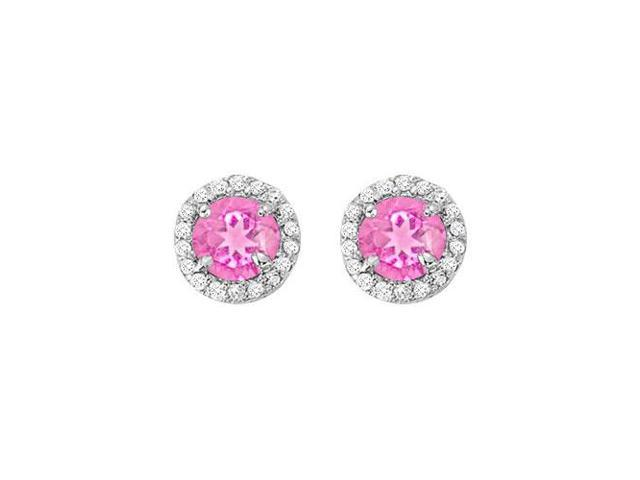 September Birthstone Pink Sapphire and CZ Halo Stud Earrings in Sterling Silver 2.25 CT TGW