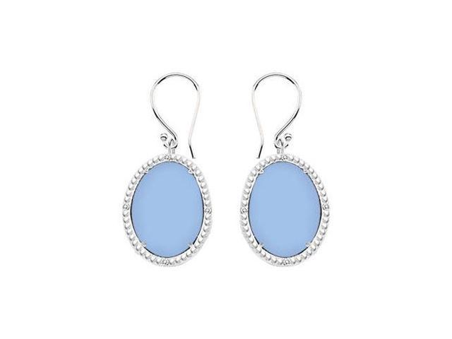 10K White Gold Aqua Chalcedony and Diamond Earrings 30.16 CT TGW