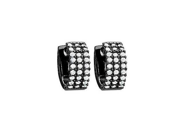 CZ 3 Row Flat Petite Vault Lock Hoop Earrings in Black Rhodium over Sterling Silver
