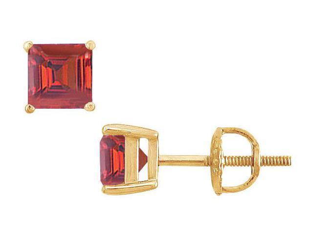 Ruby Stud Earrings  14K Yellow Gold - 2.00 CT TGW
