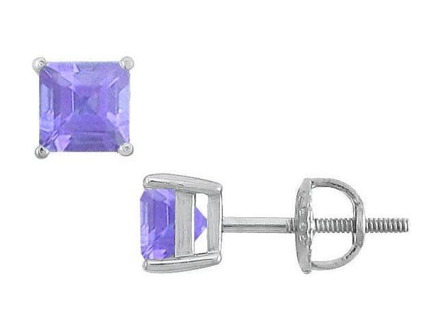 Tanzanite Stud Earrings  14K White Gold - 2.00 CT TGW