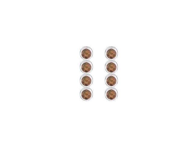 Smoky Quartz Drop Earrings with Ten Carat Totaling Gem Weight in 14K White Gold Bezel Setting