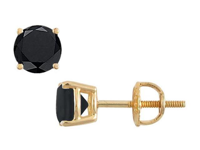 14K Yellow Gold  Round Black Diamond Stud Earrings  3.50 CT. TW.