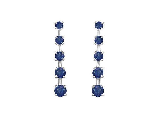 Blue Sapphire Journey Earrings  14K White Gold - 2.00 CT TGW