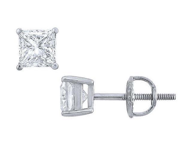 Platinum  Princess Cut Diamond Stud Earrings  1.00 CT. TW.