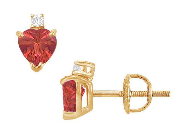 Diamond and Ruby Stud Earrings  14K Yellow Gold - 2.04 CT TGW