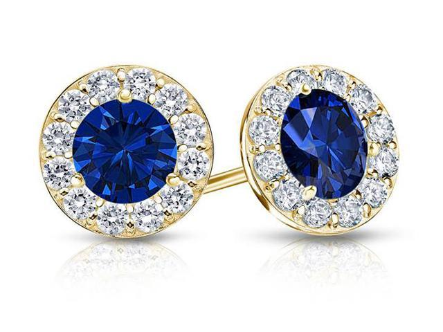 Created Sapphire and CZ Halo Stud Earrings in 14K Yellow Gold 1.50.ct.tw