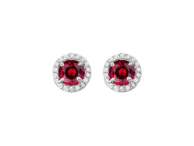 July Birthstone Ruby and CZ Halo Stud Earrings in Sterling Silver 2.25 CT TGW