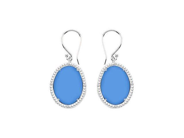 10K White Gold Blue Chalcedony and Diamond Earrings 30.16 CT TGW