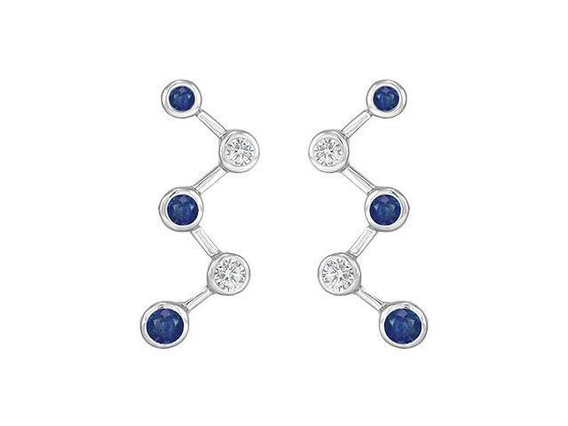 Blue Sapphire and Diamond Earrings  14K White Gold - 1.00 CT TGW
