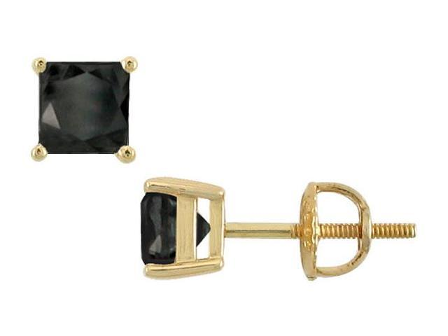 14K Yellow Gold  Princess Cut Black Diamond Stud Earrings  3.00 CT. TW.