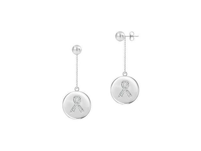 Diamond Breast Cancer Awareness Ribbon Disc Earrings  14K White Gold - 0.33 CT Diamonds