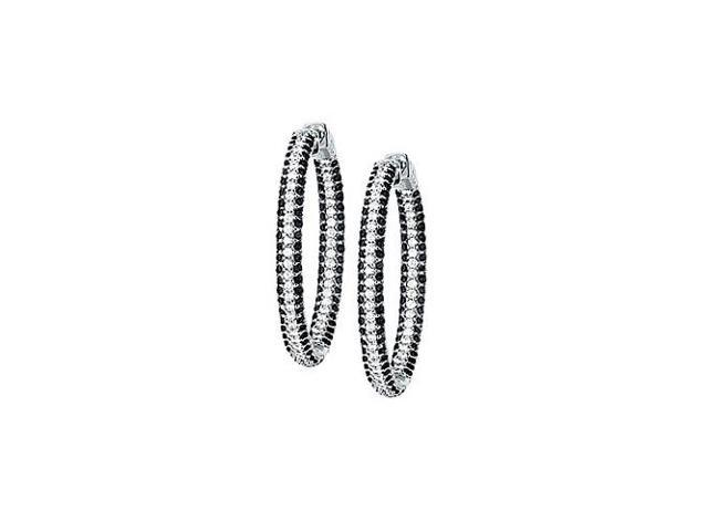 CZ 36mm Black and White Inside Out Hoop Earrings in Black Rhodium over Sterling Silver