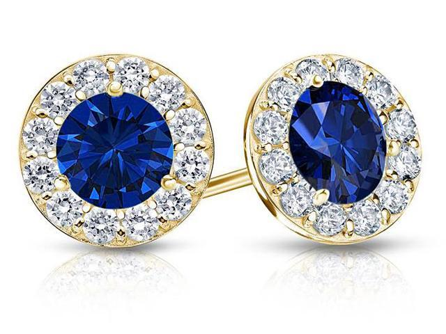 Created Sapphire and CZ Halo Stud Earrings in 14K Yellow Gold 2.00.ct.tw