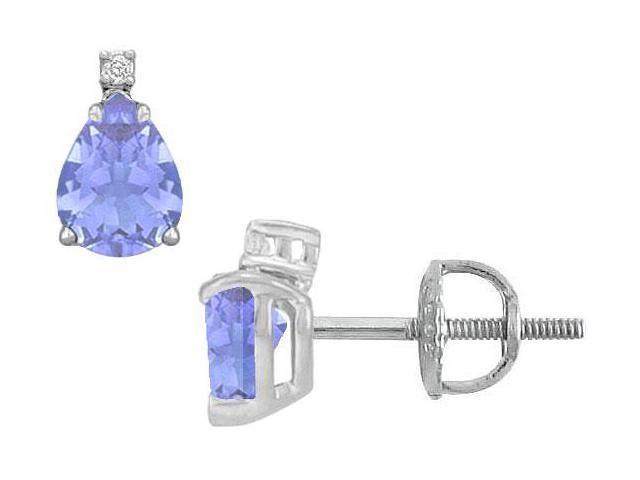 Diamond and Tanzanite Stud Earrings  14K White Gold - 2.04 CT TGW