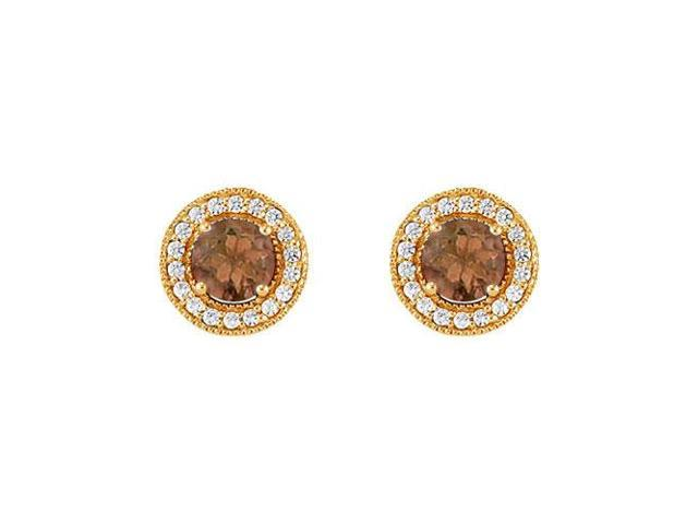 June Birthstone Smoky Quartz and Cubic Zirconia Halo Stud Earrings 14K Yellow Gold 2.50 CT TGW