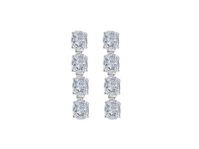 Drop Earrings Oval Cut Triple AAA Quality CZ in 925 Sterling Silver Eight Carat TGW