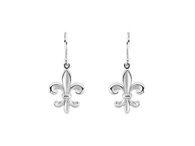 Fleur de lis Earrings in Rhodium Treated .925 Sterling Silver