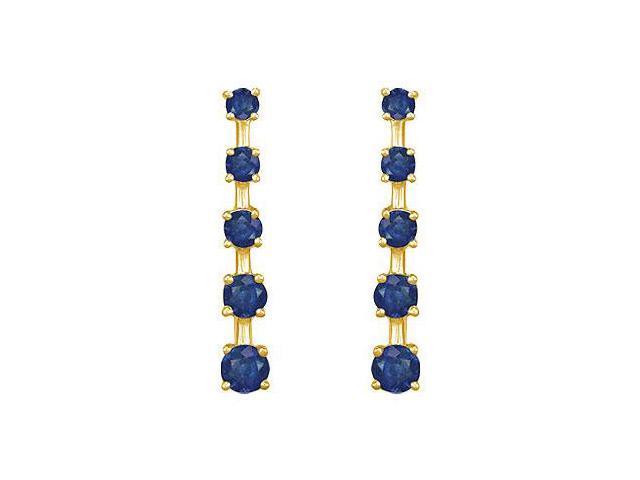 Blue Sapphire Journey Earrings  14K Yellow Gold - 2.00 CT TGW