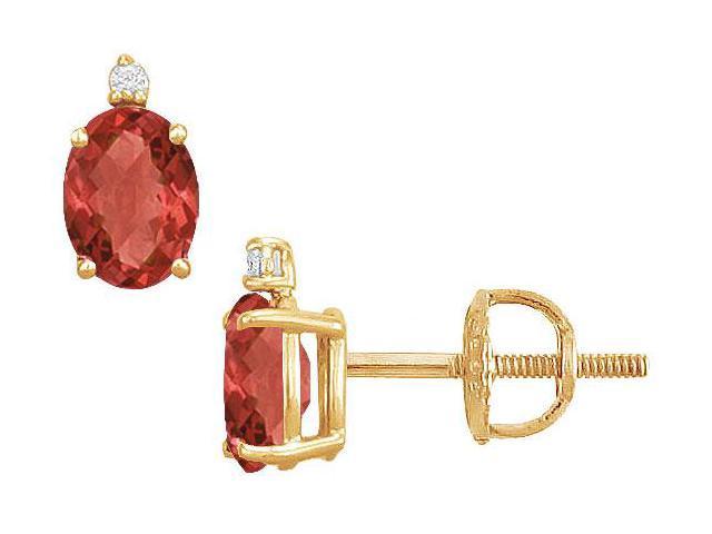 Diamond and Ruby Stud Earrings  14K Yellow Gold - 2.04 CT TGW