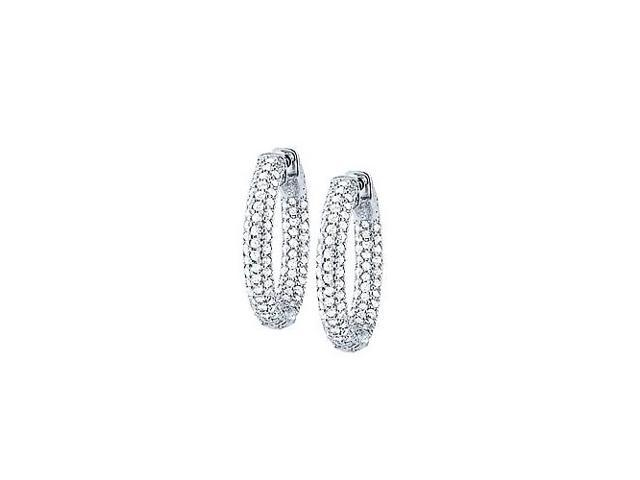 Pave Cubic Zirconia 25mm Round Inside Out Hoop Earrings in White Rhodium over Sterling Silver