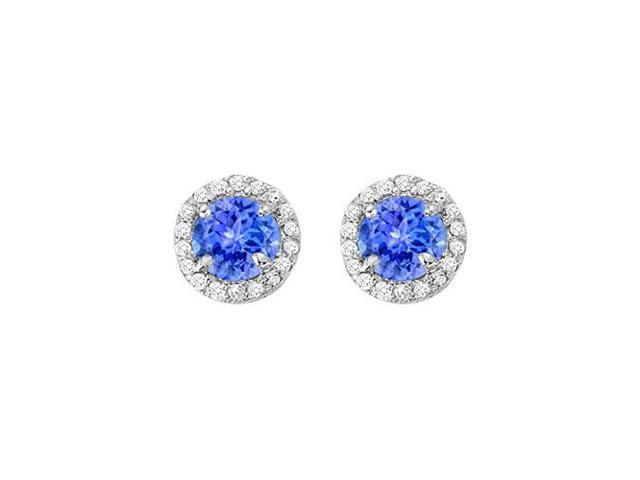 December Birthstone Tanzanite and CZ Halo Stud Earrings in 925 Sterling Silver 2.25 CT TGW