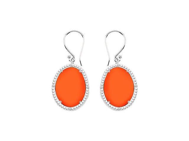 10K White Gold Orange Chalcedony and Diamond Earrings 30.16 CT TGW