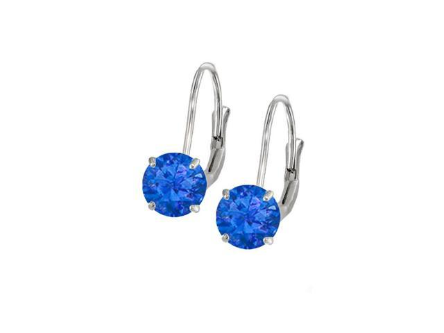 Leverback Earrings in 14K White Gold with Sapphire Gemstone 2.00 CT TGWPerfect Jewelry Gift