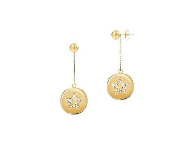 Diamond Star Disc Earrings  14K Yellow Gold - 0.30 CT Diamonds