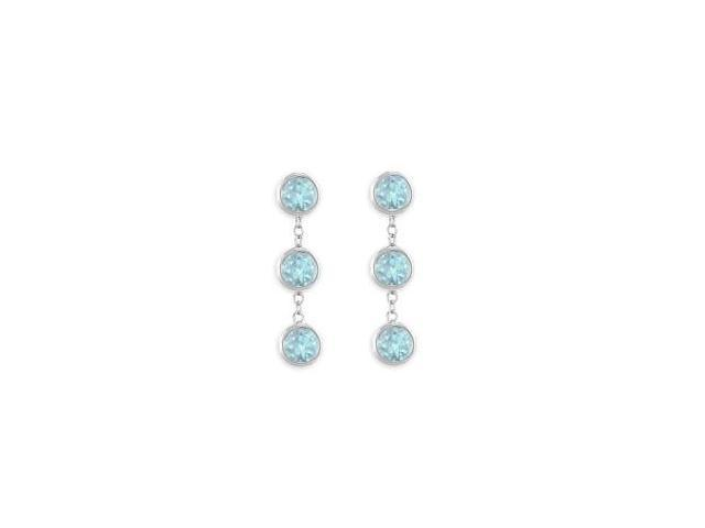 Bezel Set Created Aquamarine Station Earrings in 14K White Gold Six Carat Total Gem Weight