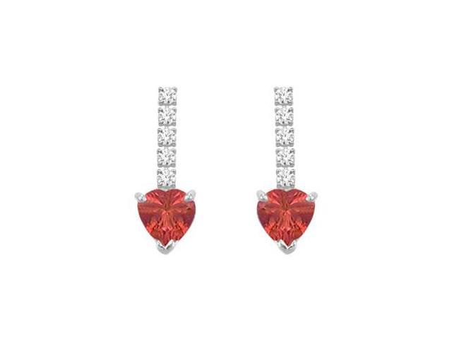 Diamond and Ruby Earrings  14K White Gold - 1.25 CT TGW