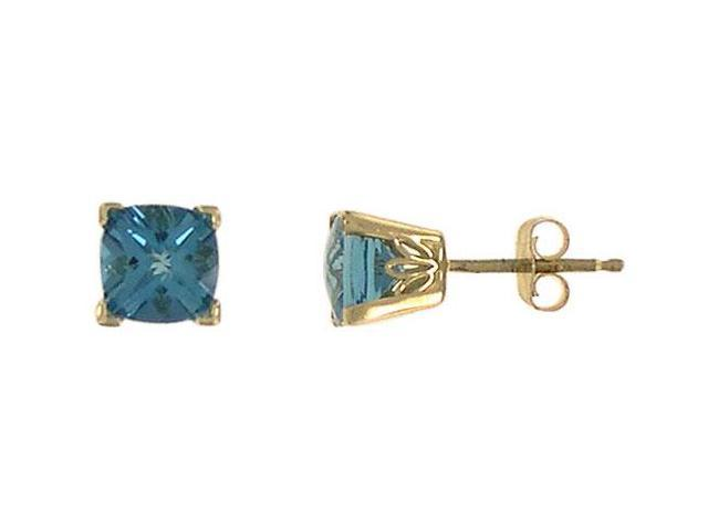 Blue Topaz Earrings  14K Yellow Gold - 1.25 CT TGW