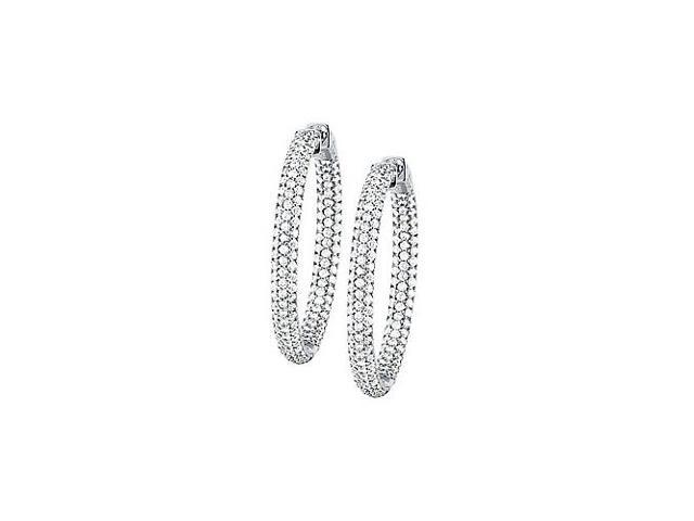 Pave Cubic Zirconia 36mm Round Inside Out Hoop Earrings in White Rhodium over Sterling Silver