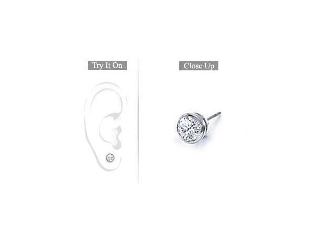 Mens 14K White Gold  Bezel-Set Round Diamond Stud Earrings 0.25 CT. TW.