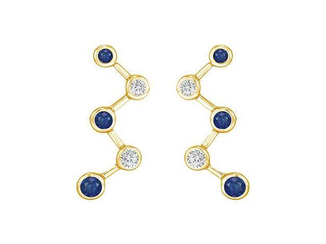 Blue Sapphire and Diamond Earrings  14K Yellow Gold - 1.00 CT TGW