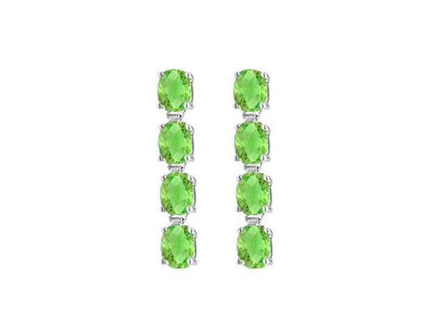 Eight Carat Totaling Gem Weights of Oval Peridot Drop Earrings in 925 Sterling Silver Prong Set