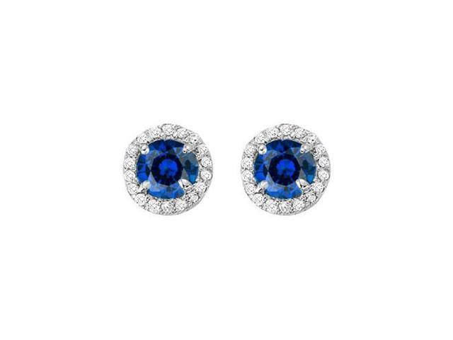 September Birthstone Created Sapphire and CZ Halo Stud Earrings in 14kt White Gold 2.25 CT TGW
