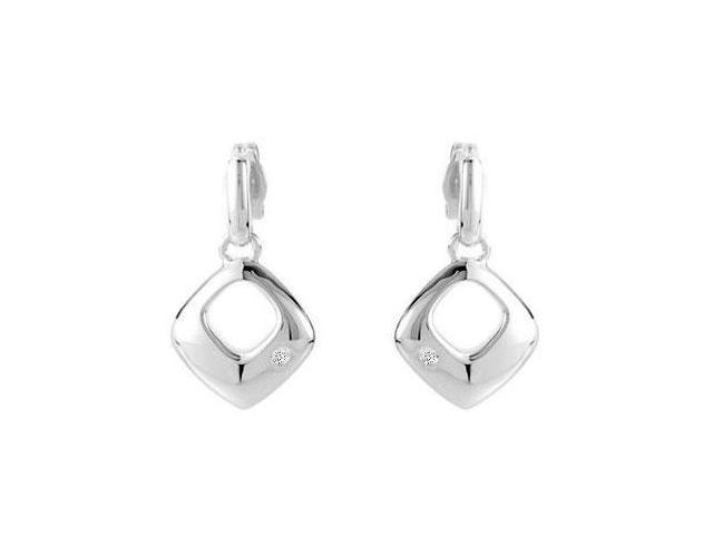 Sterling Silver 0.02 Carat Diamond Earrings 21.00X13.00 MM