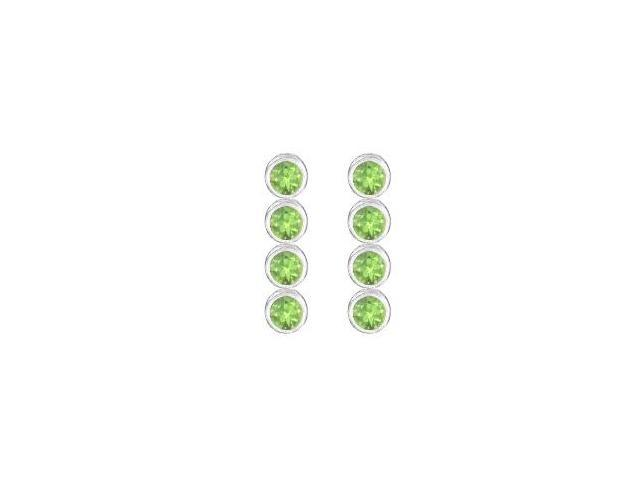 Peridot Drop earrings in Bezel set 14K White Gold Ten Carat Total Gem Weight